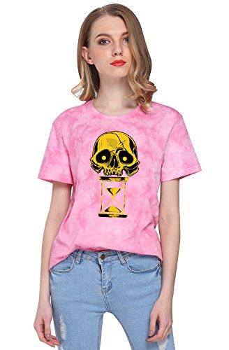 P&A STAR Women's Hourglass Skull Print Tie-dyed T-Shirt Tee Tops