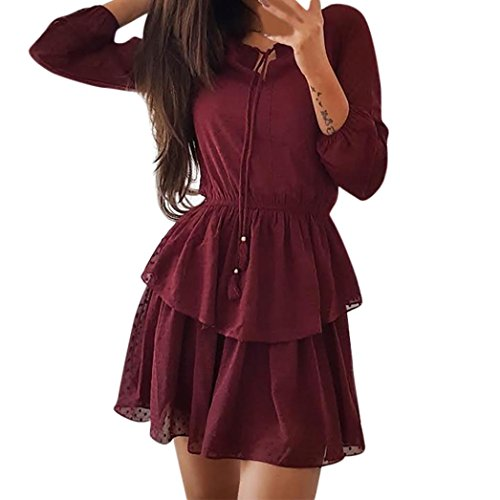 JYS Apparel Summer Womens Three Quarter Sleeve Dress Casual Stylish Embroidery Evening Party Dress (L, Wine Red) by JYS Apparel