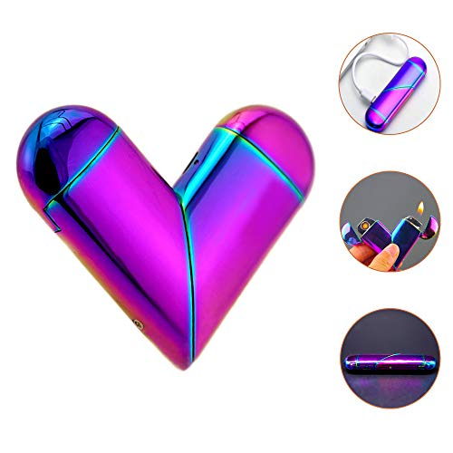 Unique Lighters USB Rechargeable Collapsible Windproof Electric with Flame 2in1(Electropl Rainbow Color),Novelty Anniversary Gifts for Him & Her&,Lady Lighter