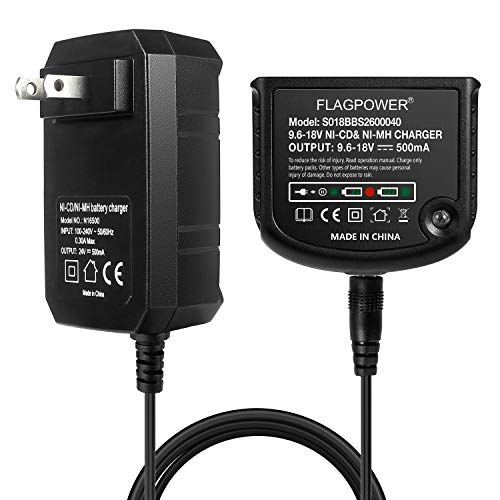 FLAGPOWER 12V 14.4V 18V Replacement Charger 90556254-01 for Black and Decker 9.6V-18V NiCad & NiMh Battery HPB18 HPB18-OPE FSB18 HPB14 FSB14 HPB12 FS12B HPB96 FSB96