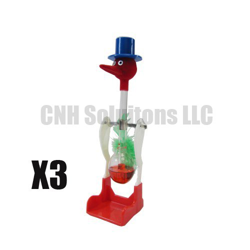 Forum Novelties 3 PCS The Famous Lucky Drinking Bird , Magic Drinking Bird