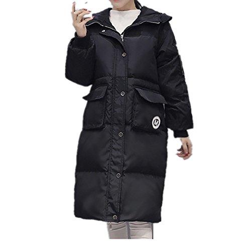 Engrosada Para Chaqueta Xichengshidai Y Larga Con Doble Negro Mujer Botonadura Capucha 8FqqBw0