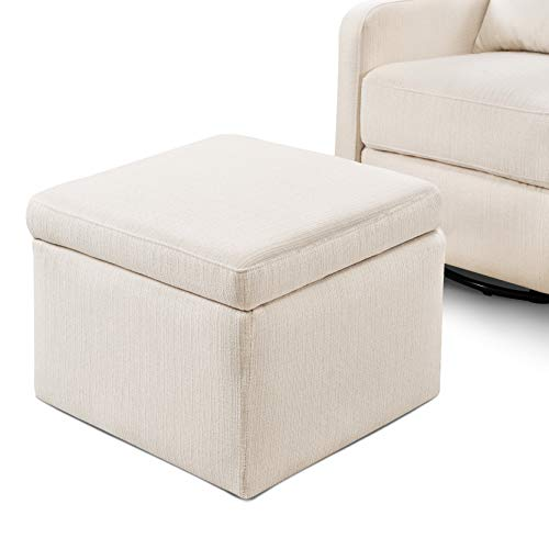 41evUInyZDL - Carter's By Davinci Adrian Swivel Glider With Storage Ottoman In Cream Linen, Water Repellent And Stain Resistant Fabric, Greenguard Gold Certified