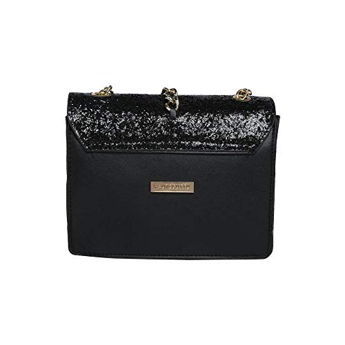 Haute Curry by Shoppers Stop Womens Party Wear Zip Closure Sling Clutch (Black_Small)
