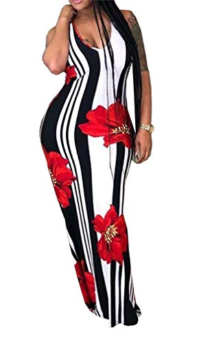 Women's Sexy Spaghetti Strap Sleeveless V Neck Floral Printed Bodycon Maxi Long Dress Party Clubwear Plus Size -