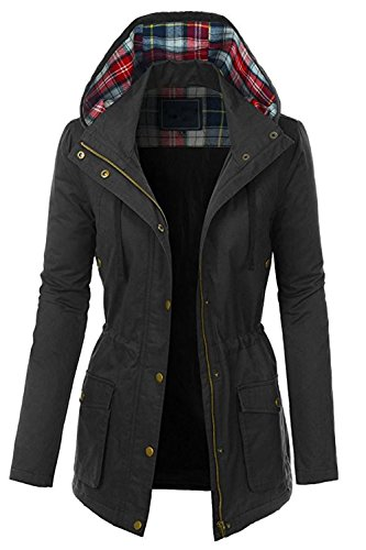 FASHION BOOMY Womens Zip Up Military Anorak Jacket W/Hood (Small, LC-Black) ()