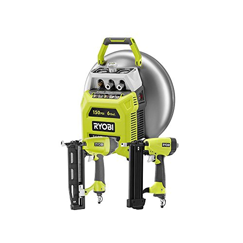 Ryobi 6 Gal. 150 PSI-Output Electric Pancake Compressor with Ryobi 18-Gauge Brad Nailer and 16-Gauge Finish Nailer Tool Combo Kit, Vertical Tank for Improved Center of Gravity, Includes 25ft ()