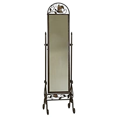 Welcome Home Accents Metal Floor Standing Cheval Mirror - Ajustable Floor Length Mirror Antique Bronze Metal with Butterfly Accents Perfect addtion to any bedroom or dressing area - mirrors-bedroom-decor, bedroom-decor, bedroom - 41evUbCTCGL. SS400  -