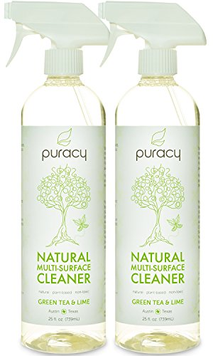 Puracy Natural All Purpose Cleaner, THE BEST Household Multi Surface Spray, Streak Free on Glass and Stainless Steel, Child and Pet Safe, Green Tea and Lime, 25 Ounce Bottle, (Pack of 2)