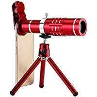 Universal Mobile Phone 18X Telescope Camera Lens with Tripod - Red