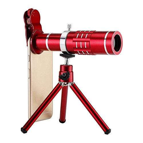 OLSUS Universal Mobile Phone 18X Telescope Camera Lens with Tripod - Red by OLSUS