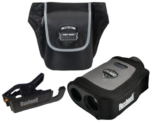 Bushnell Pro 1600 Tournament Edition Golf Laser Rangefinder Combo with Neoprene Skin and Clip-and-Go Cart Mount