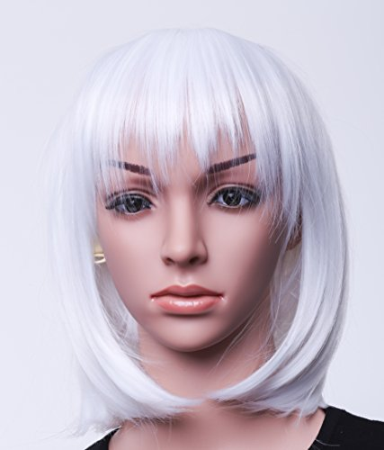 "SWACC 11"" Women Short Straight Synthetic Bob Wig Candy color Cosplay Wig Anime Costume hairpiece for Party with Wig Cap (White-12)"