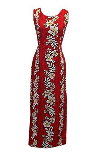 Jade Fashions Inc. Women's Hawaiian Hibiscus Red Long Tank Dress-Red-Medium (Jade Empire Guide)