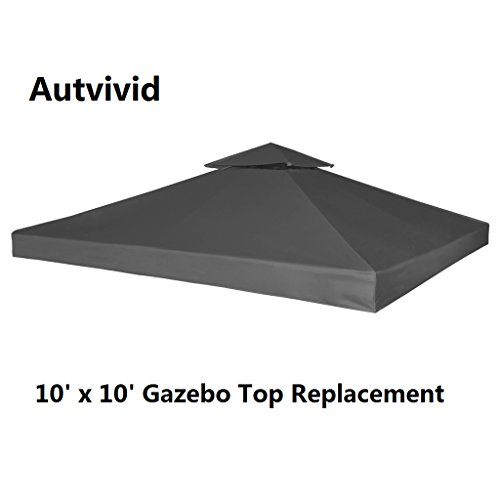 Autvivid 10' x 10' 2-Tier Waterproof Sun Shade Gazebo Top Replacement UV 30 Gazebo Cover Canopy Carport Awning Roof Top Cover for Outdoor Garden House Party Camping Picnic Bivouac (Dark Gray) - Shade Two Tier