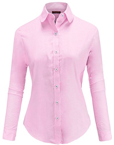 Dioufond Womens Wrinkle-Free Oxford Long-Sleeve Button Down Shirt Work Wear(US XL,Pink)