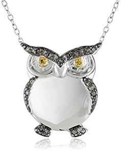 """Sterling Silver Gun Metal Color Brown and Yellow Diamond Two-Tone Owl Pendant Necklace, 18"""""""