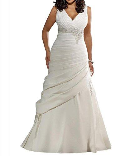 JOYNO BRIDE Gorgeous Strap V Neck A-line Taffeta Court Train Wedding Dress (16, White) Beading Taffeta Wedding Dress