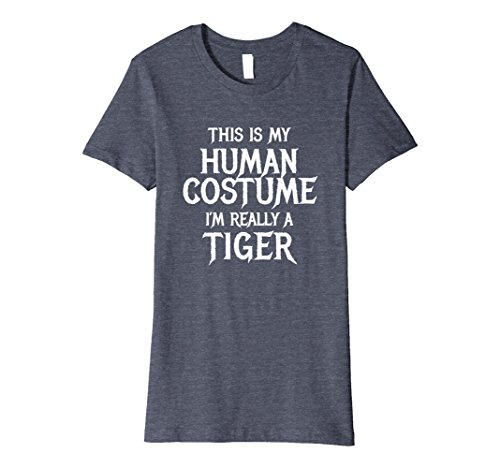 Womens I'm Really a Tiger Tshirt Funny Easy Halloween Costume Medium Heather Blue