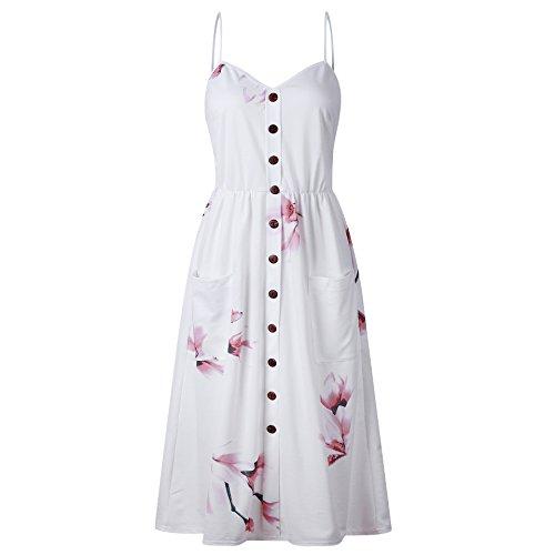 ISSHE Damen V Ausschnitt Spaghetti Buegel Kleider Für Frauen Sommerkleider  Sommerkleid Blumenkleid Rückenfreies Kleid Midi Blumen e3eadcee7a