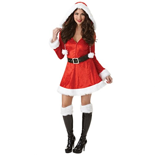 [Ladies Adult Sassy Sexy Santa Fancy Dress Costume Merry Christmas Xmas Grotto Nativity Plush Fur Furry Detail with Hood Belt & Boot Tops (Small] (Adult Nativity Costumes)