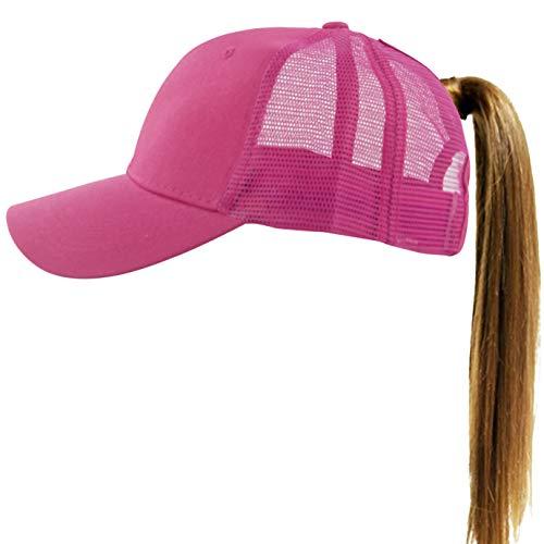 Muryobao Womens Ponytail Baseball Cap Messy High Bun Ponycap Adjustable Snapback Summer Sun Hat Plain Trucker Dad Hat Mesh Rose Red