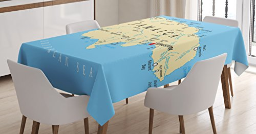 Ambesonne Jamaican Tablecloth, Map of Jamaica Kingston Caribbean Sea Important Locations in Country, Dining Room Kitchen Rectangular Table Cover, 52 W X 70 L Inches, Blue Beige