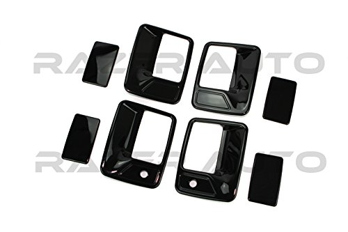 Razer Auto Gloss Black Door Handle Cover 4D W/Passenger Keyhole for 99-14 Ford F250/F350 Superduty/00-05 Excursion