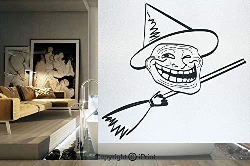 Ylljy00 Decorative Privacy Window Film/Halloween Spirit Themed Witch Guy Meme LOL Joy Spooky Avatar Artful Image/No-Glue Self Static Cling for Home Bedroom Bathroom Kitchen Office Decor Black White ()