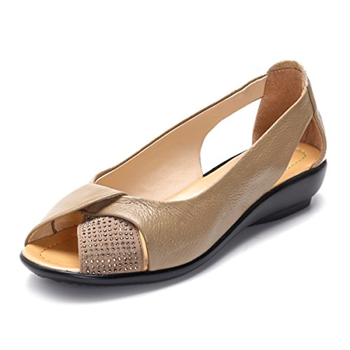 Gracosy Peep Toe Flat Shoes,Women's Classic Rhinestones Breathable Slip-On Loafer Casual Shoes Camel 7.5 B(M) US by Gracosy (Image #1)