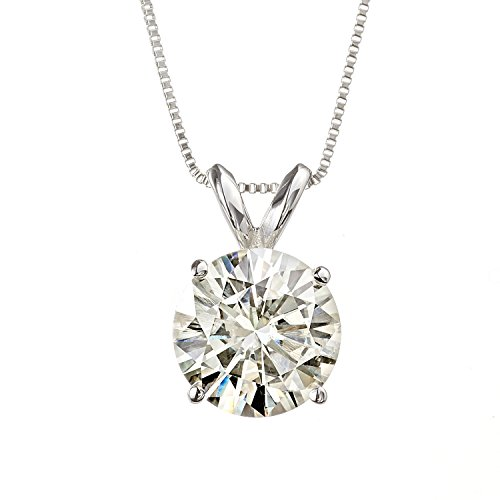 8.0mm Round Brilliant Cut Moissanite White Gold Pendant Necklace, 3.80cttw DEW By Charles & Colvard by Charles & Colvard