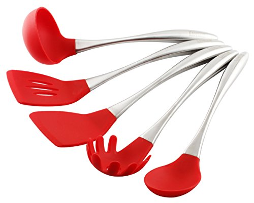 Essential Home & Kitchen Stainless Steel Silicone Kitchen Utensils Cooking Set, Perfect for use with any Cookware 5-Pieces (Teflon and Ceramic), Silicone Ended (Red) (Cookware Teflon compare prices)