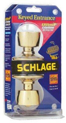 Schlage F51VBEL605 Bright Brass Bell Keyed Entry Knob ()