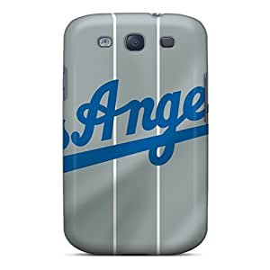 Shock Absorption Hard Phone Covers For Samsung Galaxy S3 With Custom Realistic Los Angeles Dodgers Skin JasonPelletier hjbrhga1544