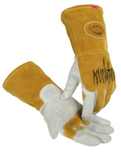 Caiman Genuine Goatskin Leather White KontourTM TIG/MIG Gloves (Large/Yellow) (Genuine Goat)