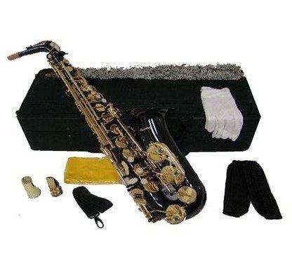 Merano E Flat Black Lacquer Plated Alto Saxophone with Case by Merano