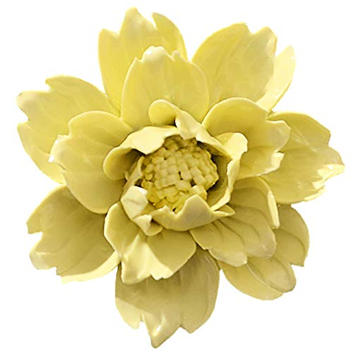 ALYCASO Handmade Decorative Ceramic Flowers 3D Wall Decor Hanging Room Decoration Art Peony Yellow 4.7in for $<!--$26.99-->