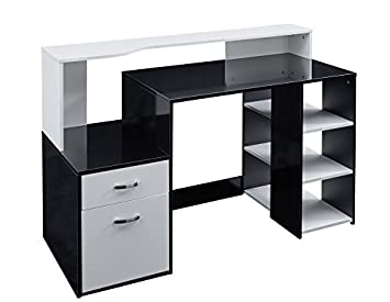 Unmatchable Black Gloss or Oak Finish Multi-Functional Computer Desk with  Storage Space (Black Gloss)