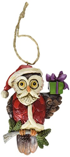 Jim Shore Heartwood Creek Christmas Owl Stone Resin Hanging Ornament, 3.8""