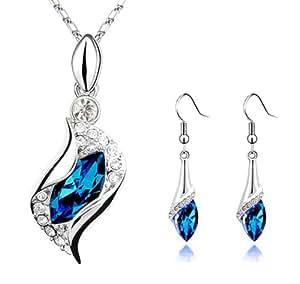 Sapphire Blue Long Teardrop Swarovski Element Set Austria Crystal Fashion Earrings Pendant Necklace