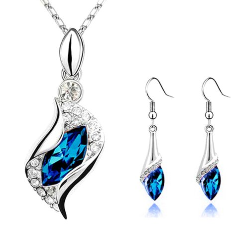 Sapphire Blue Long Teardrop Swarovski Element Set Austria Crystal Fashion Earrings Pendant Necklace FREE Organza Pouch Bag by Small - Earrings Set Mom