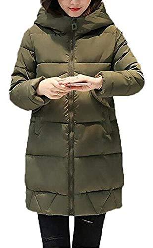 Elegante Abrigo Casual Aire Abajo Con Libre Parka Battercake Moda Chaqueta Largo Espesar Armgrün Mujer Invierno Al Capucha Cálido S6pcx8wqva