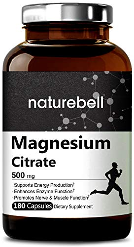Maximum Strength Magnesium Citrate 500mg,180 Capsules, Powerfully Supports Energy Production, Metabolism, The Function of Muscles, Heart & Bones. Non-GMO and Made in USA