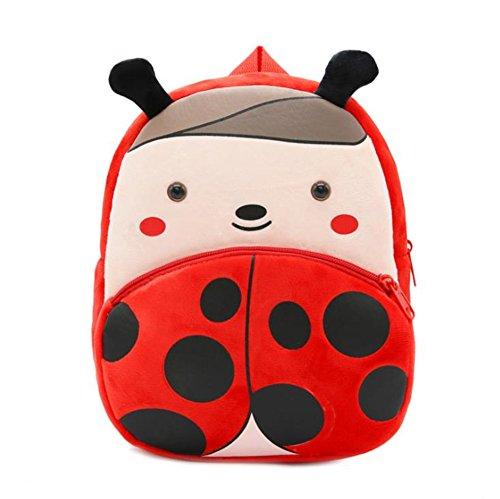 Cute Toddler Backpack Toddler Bag Plush Animal Cartoon Mini Travel Bag for Baby Girl Boy 1-6 Years (Beetle) ()