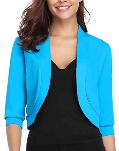 - iClosam Women Open Front Cardigan 3/4 Sleeve Long Sleeve Cropped Bolero Shrug