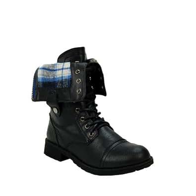 Terra-01 Black Plaid Cuffed Military Boot Black 9