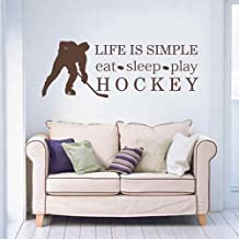 Life Is Simple Eat Sleep Play Hockey Wall Decal Sport Decals Home Decor Living Room Sticker (Black,s)
