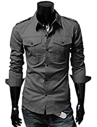 Easy Mens Casual Cool Slim Fit Military Style Long Sleeve Dress Shirts