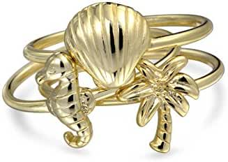 Bling Jewelry 925 Silver Nautical Seahorse Seashell Stackable Ring Set