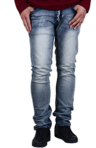 FUSAI Basic Slim Fit Jeans with Slight Shredding in Dirty Wash - Dirty Wash Jeans